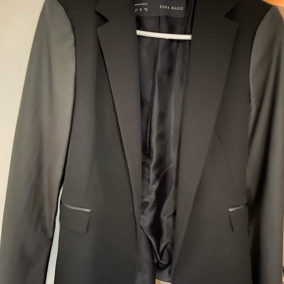 Women's Zara Blazer with faux leather sleeves
